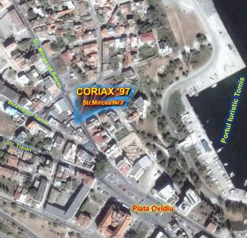 Locatia Agentiei imobiliare Coriax pe harta Constanta